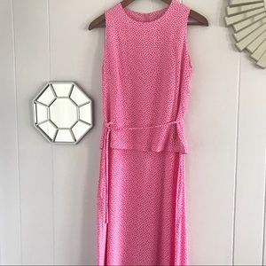 Vintage Polkadot Pink & White Maxi Dress Ruffle